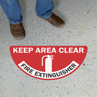 Fire Extinguisher - Keep Area Clear, Semi-Circle, Red