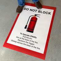 Do Not Block Fire Extinguisher Floor Sign