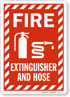 Fire Extinguisher and Hose Sign with Striped Border