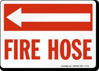 Fire Hose (with Arrow Left) Sign