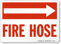 Fire Hose Sign(with Arrow Right)