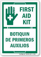 Bilingual First Aid Kit, Botiquin De Primeros Auxilos Sign