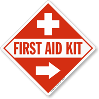 First Aid Kit Sign with Right Arrow