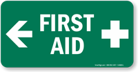 First Aid Sign with Left Arrow and Symbol