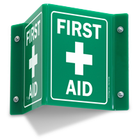 Projecting First Aid Green Sign