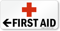 First Aid Sign with Arrow and Red Cross