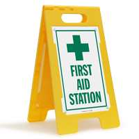 First Aid Station with Symbol Free-Standing Sign