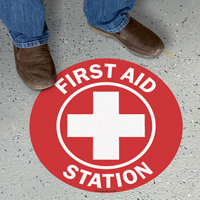 First Aid Station SlipSafe Floor Sign