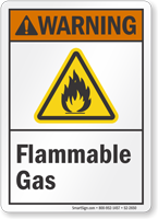 Flammable Gas ANSI Warning Sign