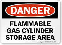 Flammable Gas Cylinder Storage Area OSHA Danger Sign