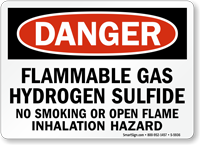 Flammable Gas Hydrogen Sulfide Danger Sign