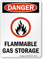 Flammable Gas Storage OSHA Danger Sign