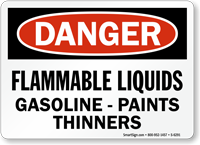 Flammable Liquids Gasoline Paints Thinners Sign