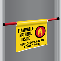 Flammable Material Inside Door Barricade Sign