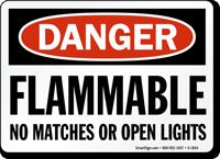 Flammable No Matches OSHA Danger Sign