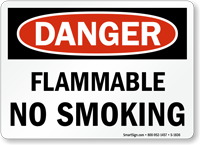 Flammable No Smoking Danger Sign