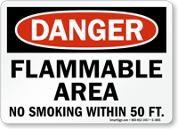Danger Flammable Area No Smoking Sign