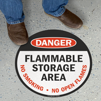 Danger Flammable Storage Area Circular Floor Sign