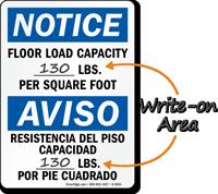Notice Floor Load Capacity Bilingual Sign