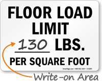 Floor Load Limit Square Foot Sign
