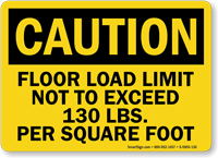 Floor Load Limit 130 Lbs Caution Sign