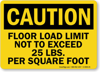 Floor Load Limit 25 Lbs Caution Sign