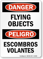 Flying Debris Escombros Volantes Bilingual Danger Sign