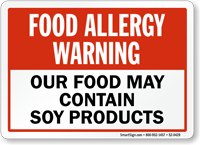 Allergy Warning Food May Contain Soy Products Sign