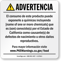 Custom Food Exposure Spanish Prop 65 Sign