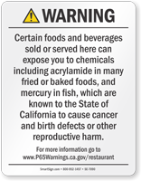 Food and Non-Alcoholic Beverage Prop 65 Sign