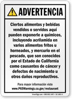 Food and Non-Alcoholic Beverage Spanish Prop 65 Sign