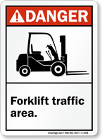 ANSI Danger Forklift Traffic Area Sign