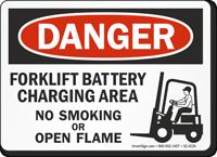 Forklift Battery Charging Area No Smoking Danger Sign