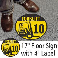 Forklift ID 10 Floor Sign & Label Kit