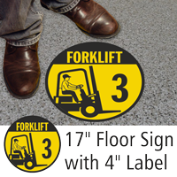 Forklift ID 3 Floor Sign & Label Kit