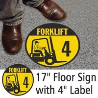Forklift ID 4 Floor Sign & Label Kit