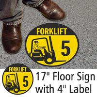 Forklift ID 5 Floor Sign & Label Kit