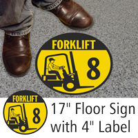 Forklift ID 8 Floor Sign & Label Kit