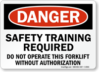 Forklift Safety Training Required Danger Sign