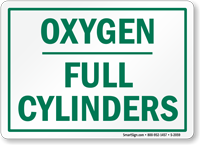 Oxygen Full Cylinders Sign