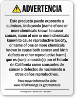 Custom Furniture Product Exposure Spanish Prop 65 Warning Sign