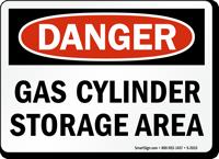 Danger Gas Cylinder Storage Area Sign
