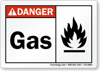 Gas With Fire Symbol ANSI Danger Sign