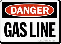 Best-Selling Gas Line Sign, OSHA Danger