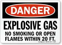 Explosive Gas No Smoking Or Open Flames Sign