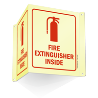 Glow-in-Dark Projecting Fire Extinguisher Inside Sign