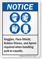 Goggles Face Shield Gloves Required ANSI Notice Sign
