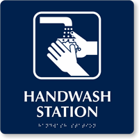 Hand Wash Station TactileTouch Braille Sign
