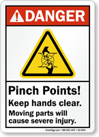 Pinch Points Moving Parts Cause Severe Injury Sign