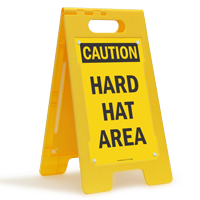 Caution Hard Hat Area Standing Floor Sign